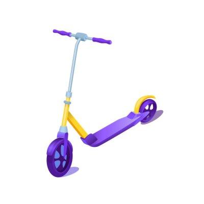 New yellow scooter vector cartoon illustration