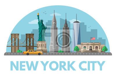 New York city flat vector illustration