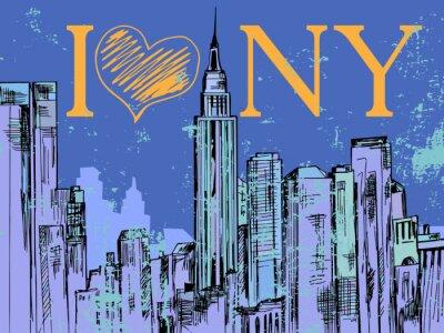 Sticker New York City Hand gezeichnet Nacht Stadtbild