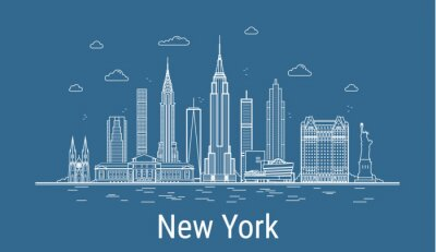 New York city line art vector illustration with famous buildings. Cityscape.