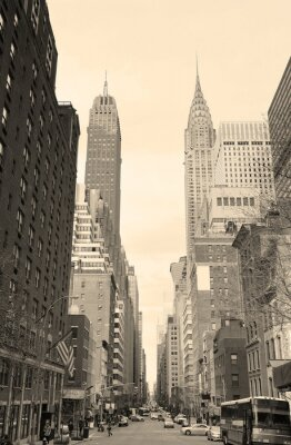 Sticker New York City Manhattan Blick auf die Straße schwarz und weiß