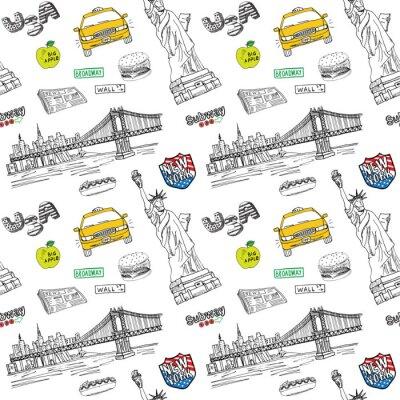 Sticker New York City nahtlose Muster mit Hand gezeichneten Skizze Taxi, würstchen, burger, Freiheitsstatue, Zeitung, manhatan Brücke. Zeichnung doodle Vektor-Illustration, isoliert auf weiß