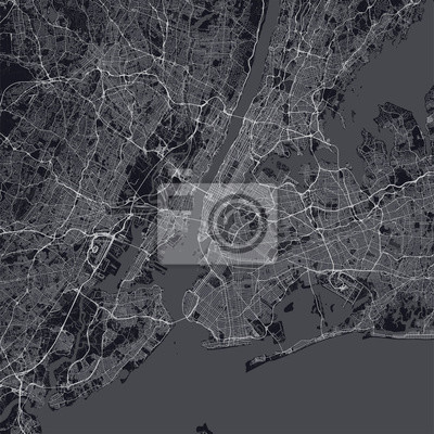 """New York City (NYC, NY) map. Dark map of New York City (New York, United States). Highly detailed map of The """"Big Apple"""" with water objects, roads, railways, etc."""
