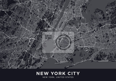 """New York City (NYC, NY) map. Dark poster with map of New York City (New York, United States). Highly detailed map of The """"Big Apple"""" with water objects, roads, railways, etc. Printable poster."""