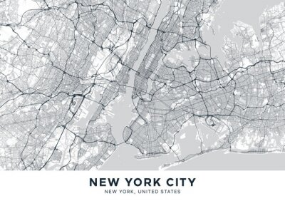 """New York City (NYC, NY) map. Light poster with map of New York City (New York, United States). Highly detailed map of The """"Big Apple"""" with water objects, roads, railways, etc. Printable poster."""