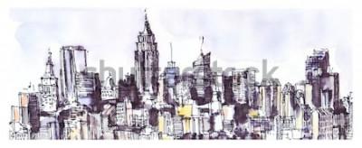 Sticker New York City Panorama. Aquarell, Tusche Grafik. Die Architektur