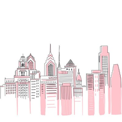 New York city scape background. Hand drawn vector doodle graphics. Pink and black colours. Perfect for girlish design.