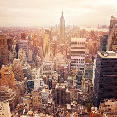 Sticker New York City Skyline mit Retro-Filter-Effekt, USA.