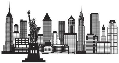 Sticker New York City Skyline Schwarz-Weiß-Vektor-Illustration