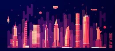 Sticker New York City Skyline Vektor flachen Stil