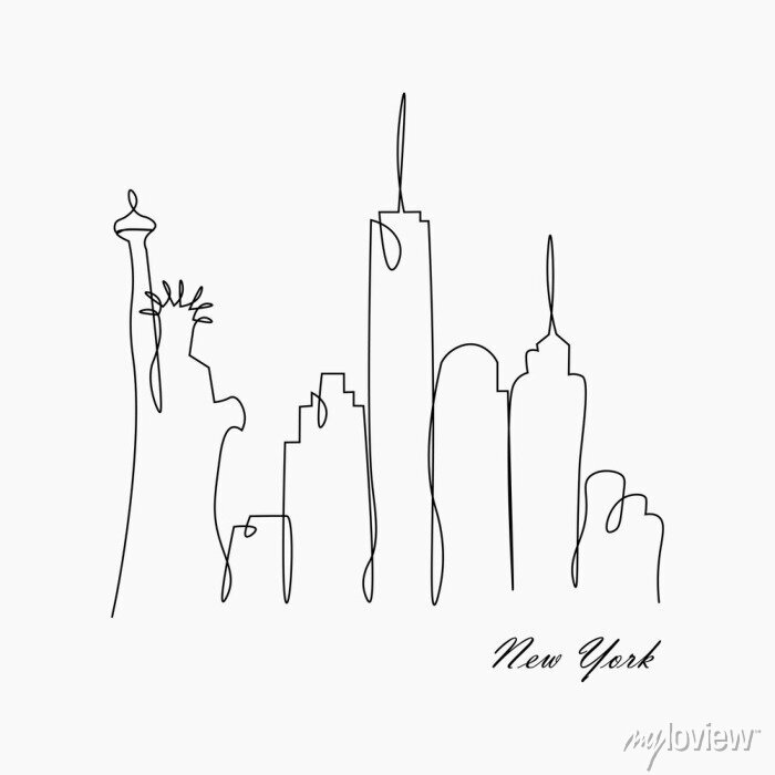 Sticker New york city skyline with statue of liberty, usa, vector illustration.