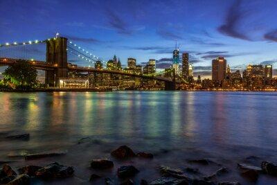 Sticker New York City Sonnenuntergang Landschaft mit Brooklyn Bridge, USA