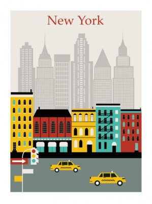 Sticker New York city. Vector