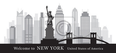 New York Landmarks Skyline and Skyscraper in Black and White