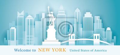 New York Landmarks Skyline Background, Paper Cutting Style