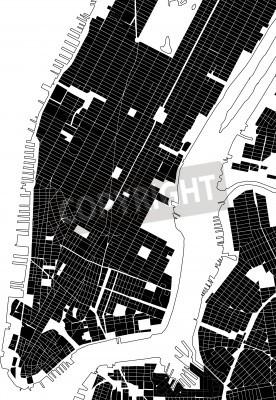 Sticker New York schwarz weiß Stadtplan - Straße Textur