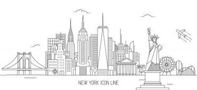 Sticker New York Skyline Linie Kunststil