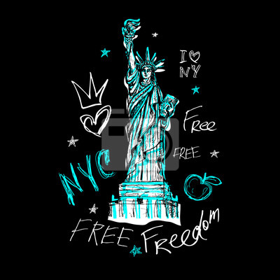 New York, t shirt design, poster, print, statue of liberty lettering, map, tee shirt graphics, trendy, dry brush stroke, marker, color pen, ink, watercolor. Hand drawn vector illustration.