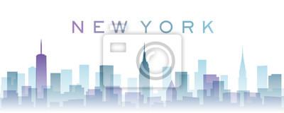 New York Transparent Layers Gradient Landmarks Skyline