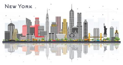Sticker New York USA City Skyline with Gray Skyscrapers and Reflections Isolated on White.
