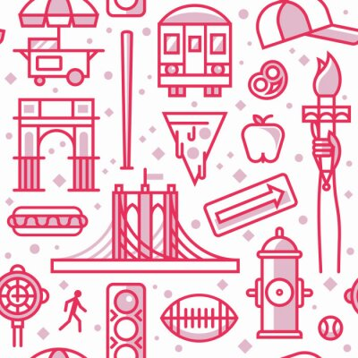 New York, vector outline background, seamless pattern