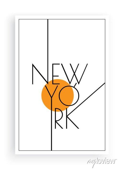 Sticker New York, vector. Scandinavian art design. Minimalist poster design. Wall art work, wall decoration. Wording design, lettering