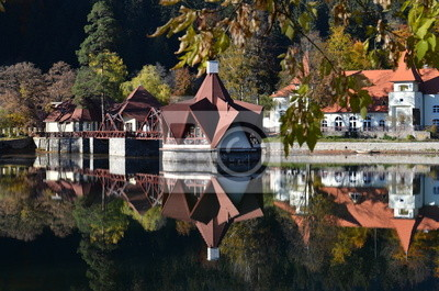 Nice landscape of a beautiful lake house in autumn