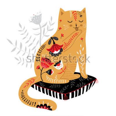Sticker niedliche handgezeichnete Katze