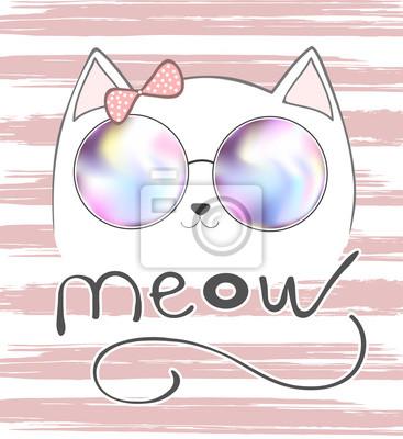 Niedliche Katze mit rosa Schleife und Beschriftung - Meow, Grafik Illustration Vektor, T-Shirt Print, Tier