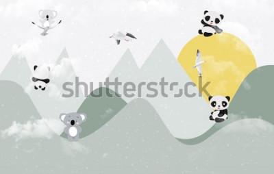 Sticker Niedliche Koalas und Pandas, die im Berg spielen