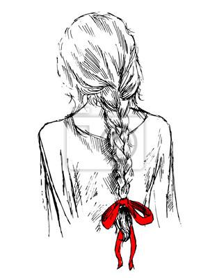 Niedliche Mädchen mit Flechte und Bogen, zurück, Hand gezeichnet Vektor-Illustration, sketh