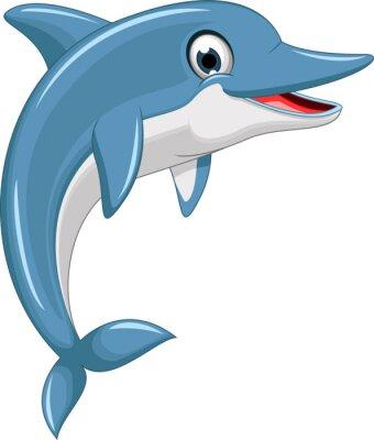Sticker niedlichen Cartoon dolphin jumping