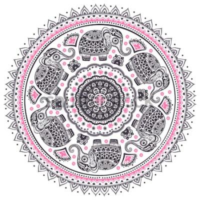 Sticker Niedliches ethnisches Elefant-Mandalamuster des indischen Lotos des Vintagen grafischen Vektors. Afrikanische Stammesverzierung. Kann für ein Malbuch, Textil, Drucke, Telefonkasten, Grußkarte, Visiten