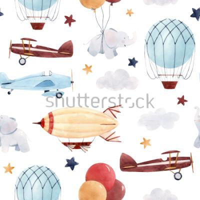 Sticker Niedliches Kinderaquarellmuster. Tapete für einen Jungen, einen Sternenhimmel mit einem Luftfahrzeug, Luftschiffe und Flugzeuge, Elefanten und Luftballons.