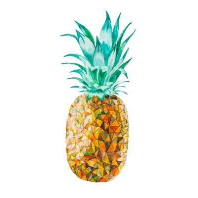 Sticker Niedrige Poly-Aquarell-Ananas