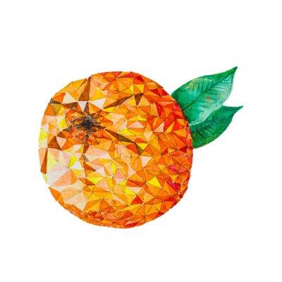 Sticker Niedriges Poly-Aquarell orange
