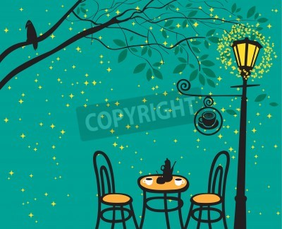 Sticker night landscape with night cafe in the streetlight