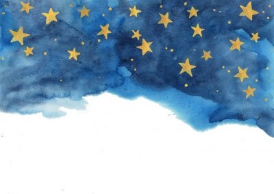 Sticker Night sky and gold star watercolor hand painting  for decoration on winter season and Chritsmas holiday.