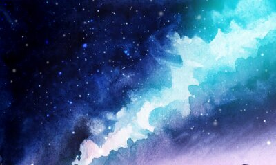 Sticker Night. The infinite deep starry sky, the Milky Way. Northern Lights Pink and blue streams of light. Mystical boundless universe. Hand-drawn watercolor background illustration.