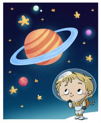 Sticker niño astronauta en el espacio