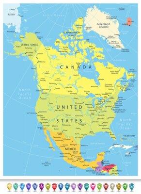 Sticker Nordamerika Detaillierte Politische Karte mit Navigation Icons