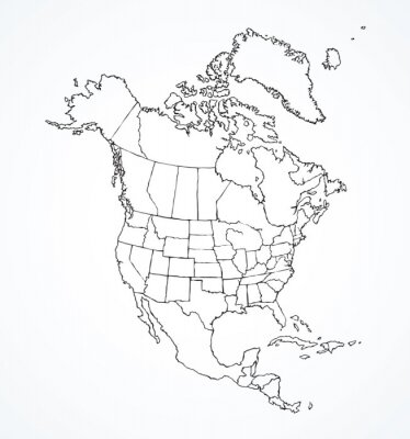 Sticker North American continent with contours of countries. Vector drawing