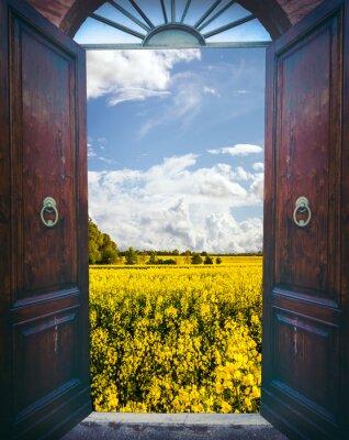 Sticker Offene Tür und Landschaft