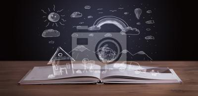 Offenes Buch mit Hand gezeichneten Landschaft