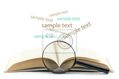 offenes Buch mit Lupe auf weißem Hintergrund