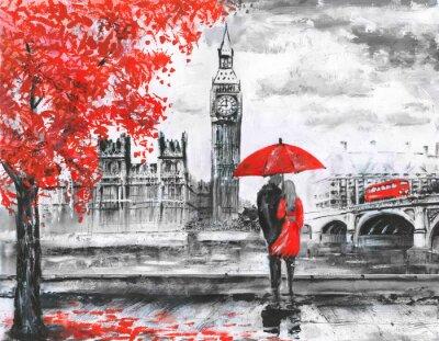 Sticker .oil Malerei auf Leinwand, Street View of London, Fluss und Bus auf der Brücke. Kunstwerk. Big Ben. Mann und Frau unter einem roten Regenschirm