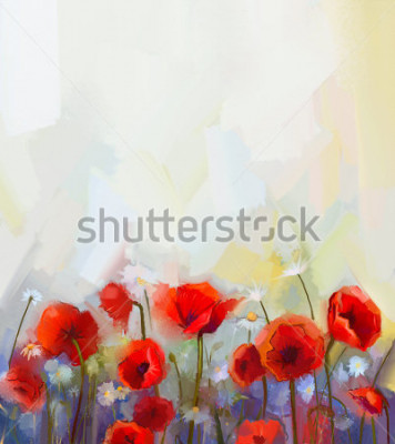 Sticker Oil  painting red poppy  flowers.  Spring  floral nature background