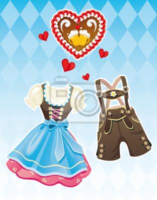 finest selection ff444 08694 Sticker: Oktoberfest dirndl und lederhosen traditionelle deutsche kleidung