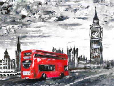 Öl auf Leinwand, Straße Blick auf London, Bus auf der Straße. Kunstwerk. Big Ben.