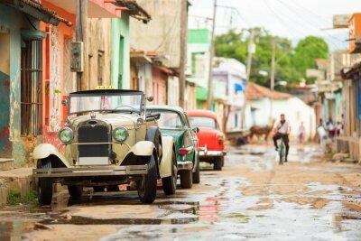 Sticker Old Cabrio Auto auf der Straße von Trinidad, Kuba